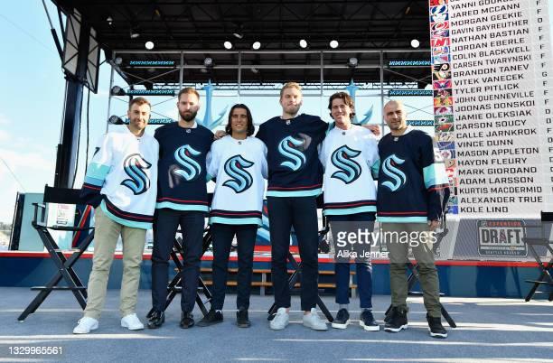 The Seattle Kracken draft picks Jordan Eberle, Chris Driedger, Chris Tanev, Jamie Oleksiak, Haydn Fleury and Mark Giordano following the 2021 NHL...