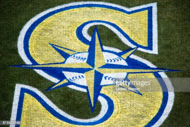 The Seattle Mariners' logo is painted in throwback colors for their Sunday day game against the Oakland Athletics at Safeco Field on July 9 2017 in...