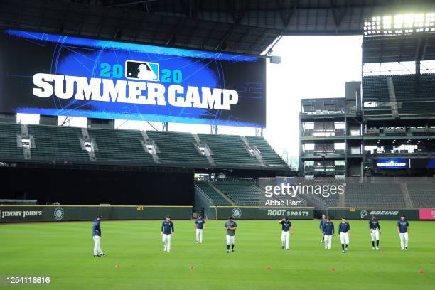 The Seattle Mariners participate in drills during summer workouts at T-Mobile Park on July 03, 2020 in Seattle, Washington.