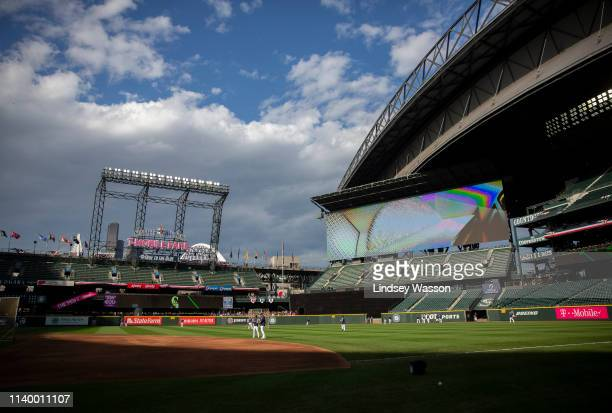 The Seattle Mariners take batting practice before the game against the Los Angeles Angels of Anaheim at T-Mobile Park on April 1, 2019 in Seattle,...