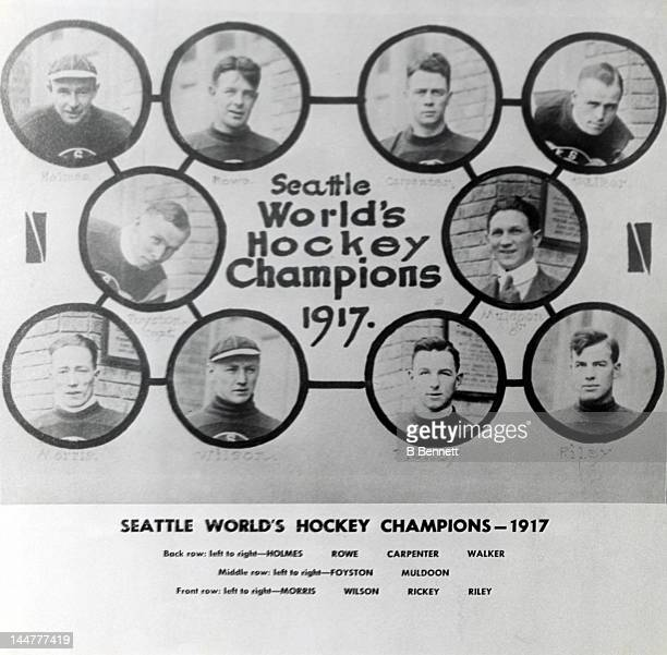 The Seattle Metropolitans Stanley Cup winning team in 1917. Harry Holmes, Bobby Rowe, Ed Carpenter and Jack Walker. Frank Foyston and manager Pete...
