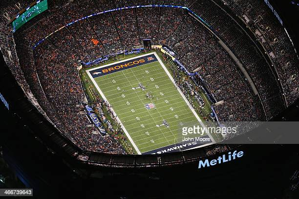 The Seattle Seahawks and the Denver Broncos play in Super Bowl XLVIII on February 2 2014 in East Rutherford New Jersey The Seahawks won 438 The view...