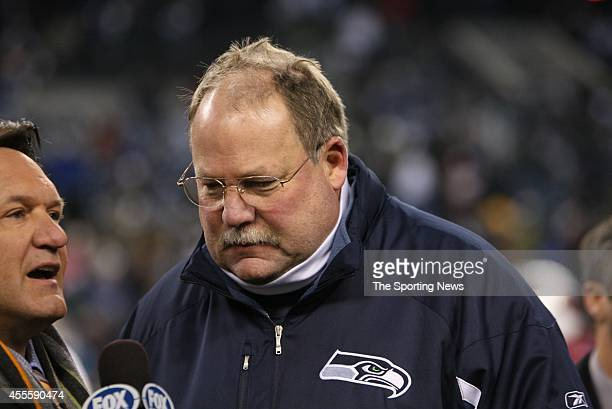 The Seattle Seahawks coach being interviewed after a game against the Arizona Cardinals on December 9 2007 at Centurylink Field Stadium in Seattle...