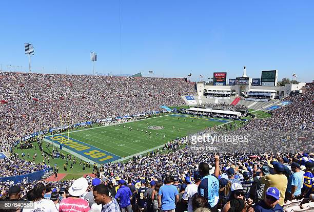 The Seattle Seahawks kick off to the Los Angeles Rams to start the home opening NFL game at the Los Angeles Coliseum on September 18 2016 in Los...