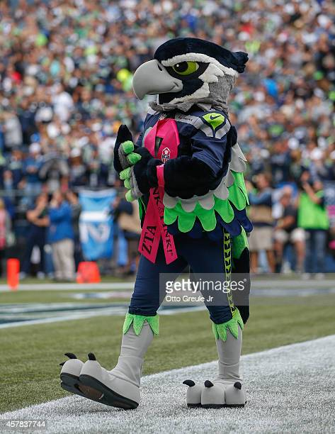 The Seattle Seahawks' mascot Blitz looks on during the game between the Seahawks and the Dallas Cowboys at CenturyLink Field on October 12 2014 in...