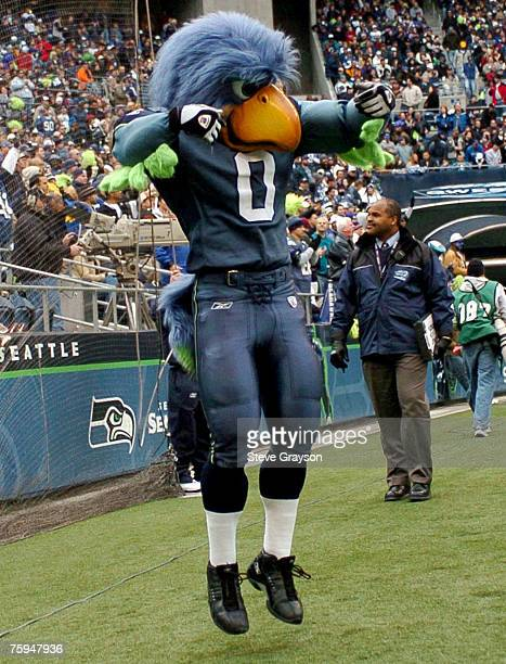The Seattle Seahawks mascot celebrates a score during their contest against the Miami Dolphins at Qwest Field November 21 2004