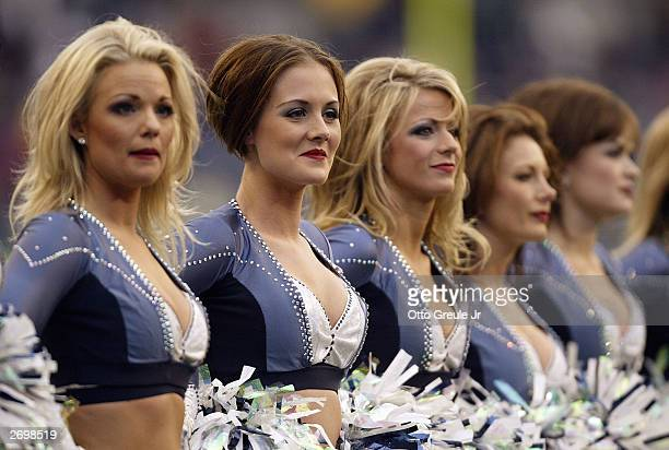 The Seattle Seahawks Sea Gals perform during the NFL game against the San Francisco 49ers at Seahawks Stadium on October12 2003 in Seattle Washington...