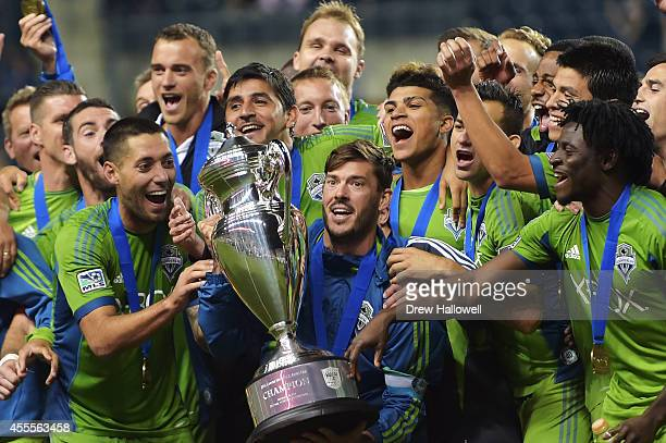The Seattle Sounders FC celebrate their 31 win over the Philadelphia Union for the 2014 US Open Cup Final at PPL Park on September 16 2014 in Chester...