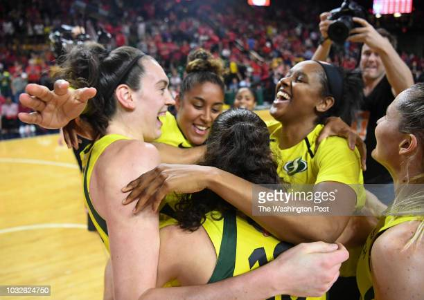 The Seattle Storm celebrate after winning Game 3 of the WNBA Finals between the Washington Mystics and the Seattle Storm at George Mason University...