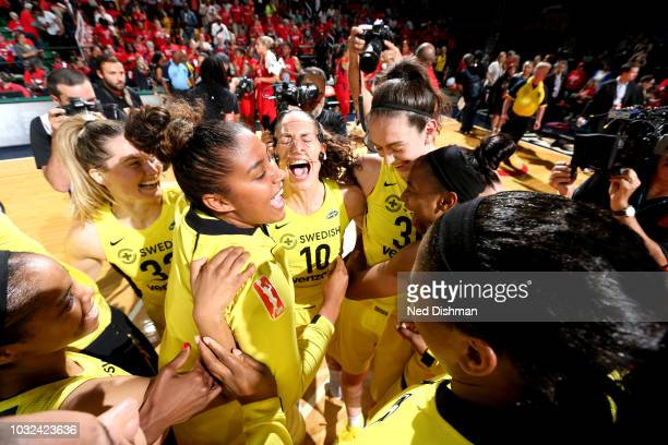 The Seattle Storm celebrates after winning the 2018 WNBA Finals against the Washington Mystics during Game Three of the 2018 WNBA Finals on September...