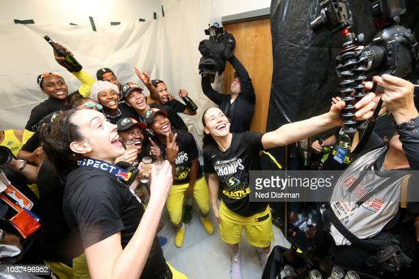The Seattle Storm celebrates in the locker room and take a selfie after winning the 2018 WNBA Championship against the Washington Mystics in Game...