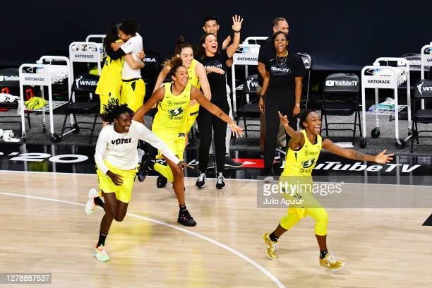 The Seattle Storm celebrates their victory in Game 3 of the WNBA Finals against the Las Vegas Aces at Feld Entertainment Center on October 06, 2020...