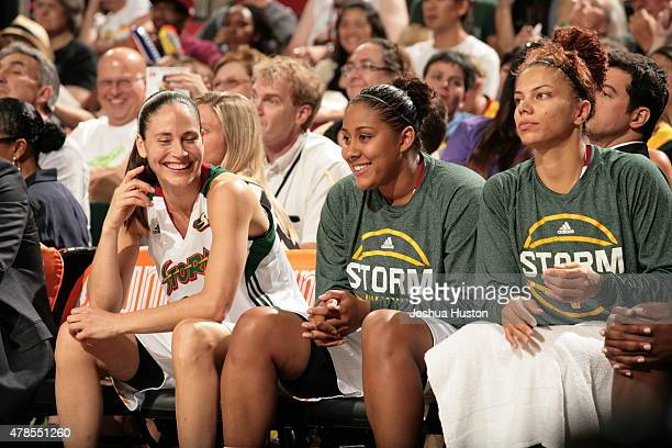 The Seattle Storm look on during the game against the Minnesota Lynx on June 25 2015 at KeyArena in Seattle Washington NOTE TO USER User expressly...