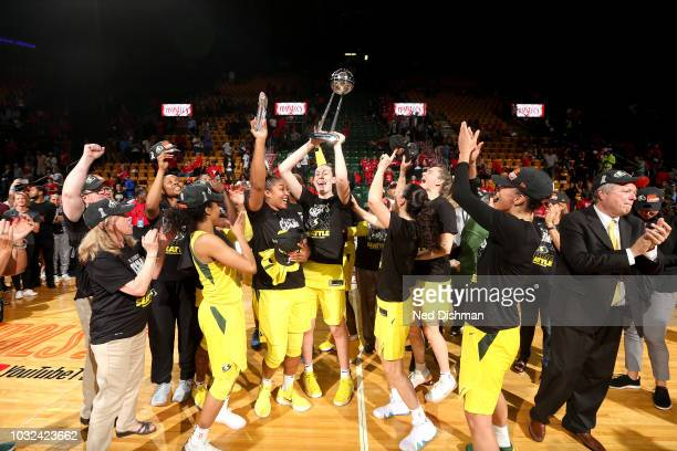 The Seattle Storm poses for a team photo after winning the 2018 WNBA Finals against the Washington Mystics during Game Three of the 2018 WNBA Finals...