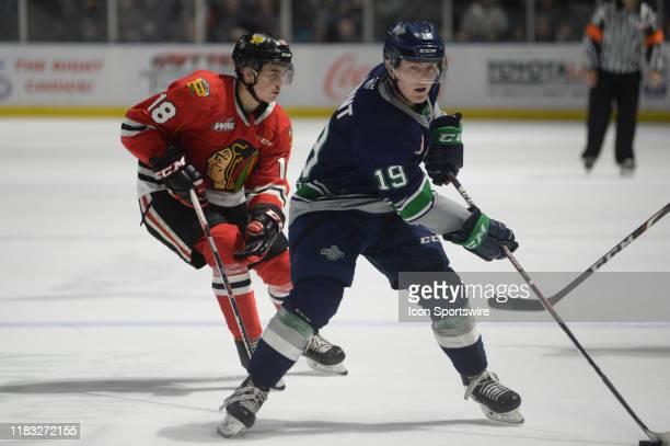 The Seattle Thunderbirds right wing Payton Mount during an WHL game between the Seattle Thunderbirds and Portland Winterhawks on November 16 at the...