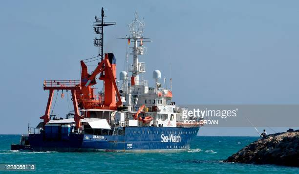The Sea-Watch 4 rescue ship sets sails from the port of Burriana on August 15 where she has been carrying maintenance operations before leaving on...