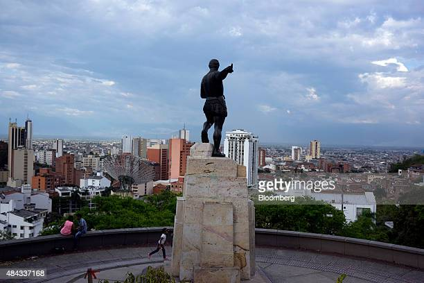 The Sebastian Belalcazar Statue stands in a plaza overlooking Cali Colombia on Wednesday Aug 12 2015 Colombia's central bank last month cut its...