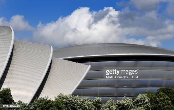 The SEC Armadillo and SSE Hydro on the banks of the River Clyde during the UEFA Euro 2020 Championship on June 13, 2021 in Glasgow, United Kingdom.
