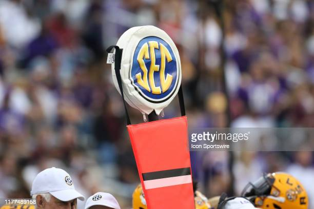 The SEC logo can be seen at the game between the LSU Tigers and the Mississippi State Bulldogs on October 19, 2019 at Davis Wade Stadium in...