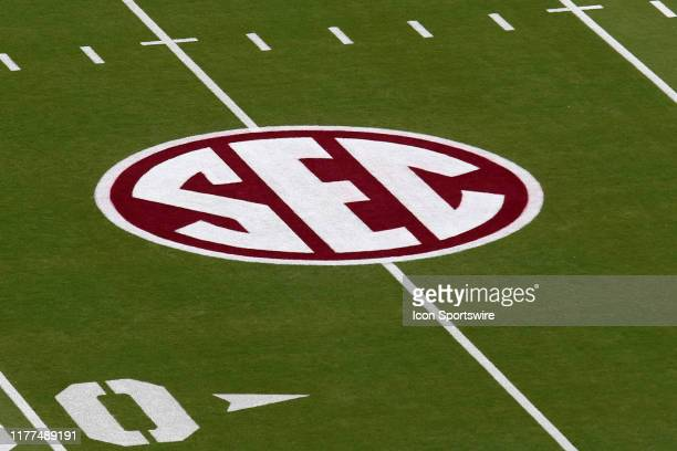 The SEC logo is painted on the field for the game between the LSU Tigers and the Mississippi State Bulldogs on October 19, 2019 at Davis Wade Stadium...