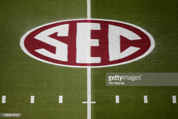 The SEC logo is seen on the field before the game between the Texas A&M Aggies and the Arkansas Razorbacks at Kyle Field on October 31, 2020 in...