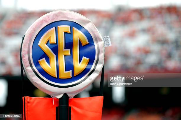 The SEC logo sits onto the down marker during the game between the Clemson Tigers and the South Carolina Gamecocks on November 30, 2019 at...