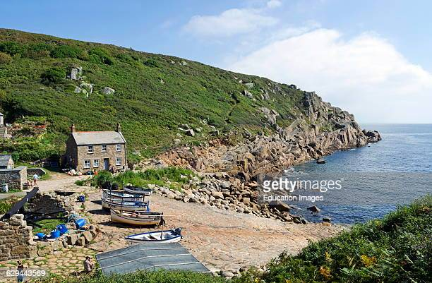 The secluded Penberth cove in Cornwall, England, UK.