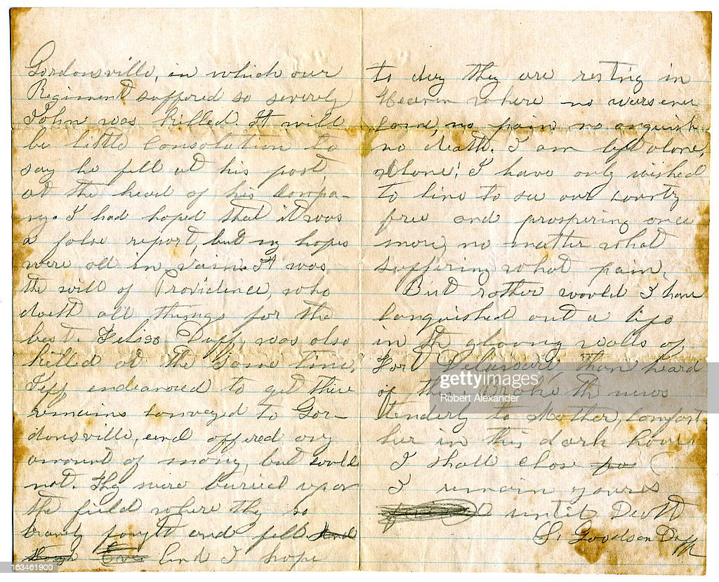 Confederate civil war letter pictures getty images the second and third pages of a confederate civil war soldiers 1862 letter to his father spiritdancerdesigns Gallery