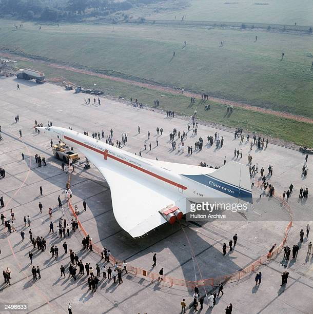 The second Anglo-French supersonic airliner, Concorde 002, at the British Aircraft Corporation's airfield at Filton, Bristolwhere it was...