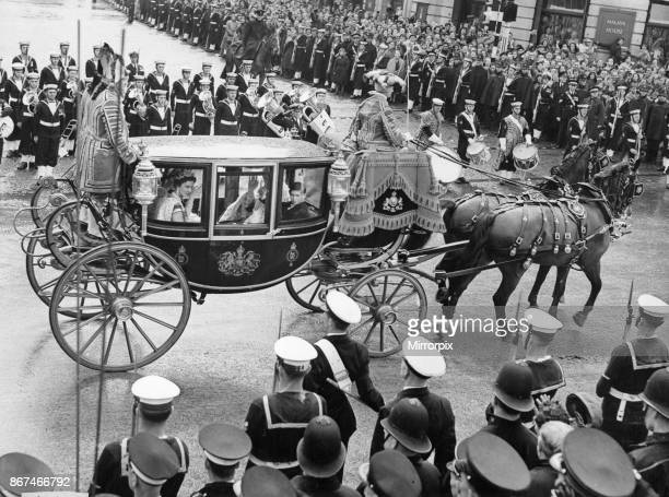 The second carriage of The Carriage Procession of Princes and Princesses of the Blood Royal carrying Her Royal Highness The Duchess of Kent His Royal...