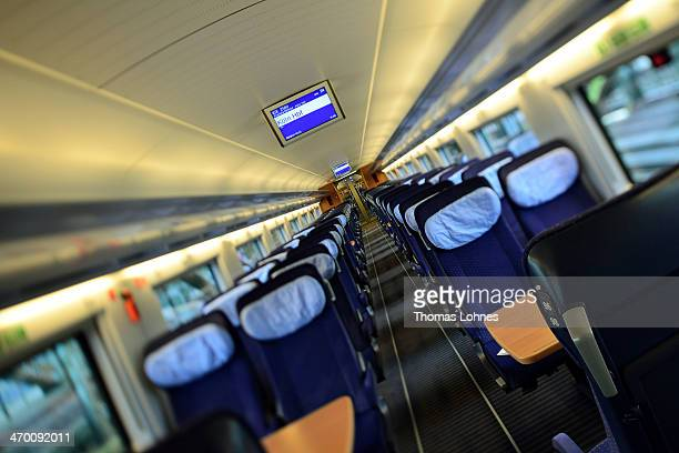The second class compartment of the generation of the ICE 3 Deutsche Bahn highspeed train version 407 pictured during a media ride from Frankfurt to...