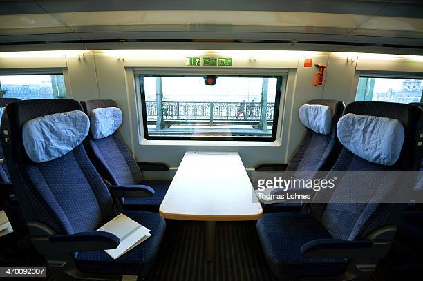 The second class compartment of the last generation of the ICE 3 Deutsche Bahn highspeed train version 407 pictured during a media ride from...