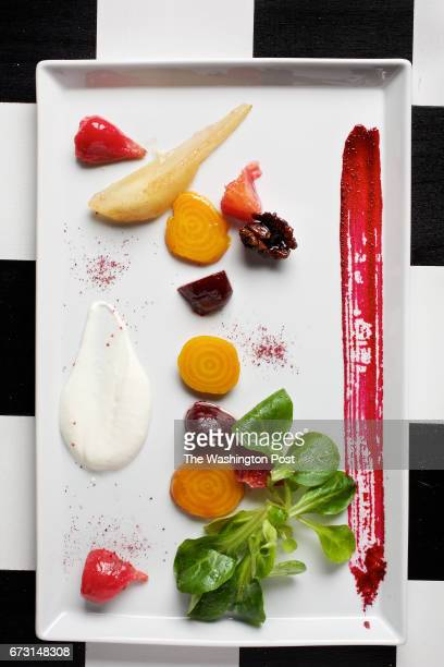 The second course of the nine course meal prepared by Todd Hauptli in his home kitchen is Roasted Beet Salad with Buttermilk-Goat Cheese Coulis...