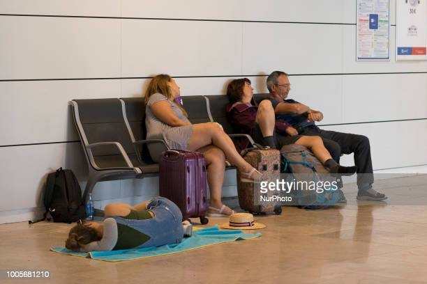 the second day of strike of the company's lowcost airline Ryanair's cabin crew members at Adolfo Suarez MadridBarajas International airport in Madrid...