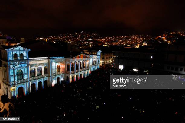 The second edition of the festival of lights illuminated Quito's Historic Center in Quito August 11 2017 This event is unique in Latin America and...