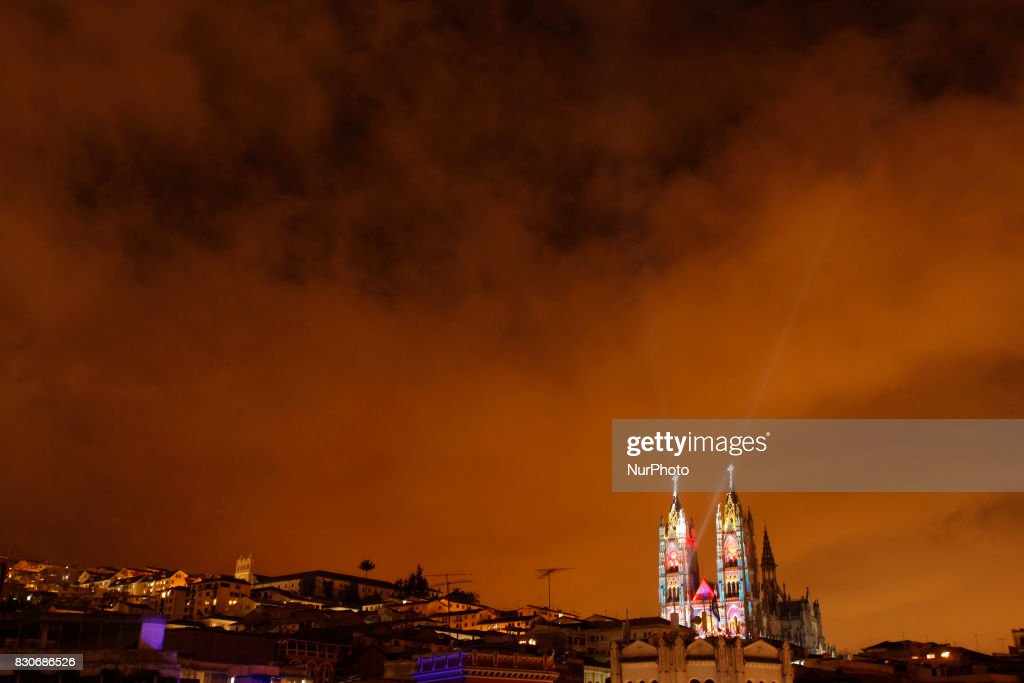 The second edition of the festival of lights illuminated Quito's Historic Center in Quito, August 11, 2017. This event is unique in Latin America and has wide acceptance of Ecuadorians and foreigners.