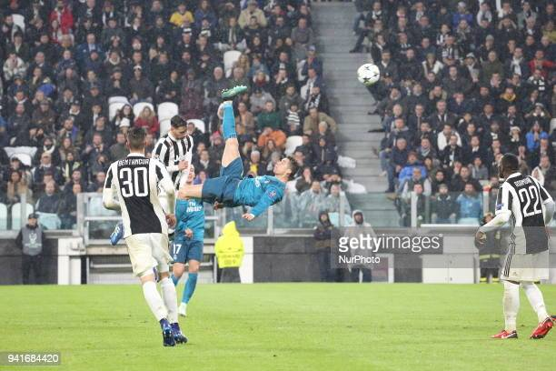 The second goal in reverse by Cristiano Ronaldo during the first leg of the quarter finals of the UEFA Champions League 2017/18 between Juventus FC...