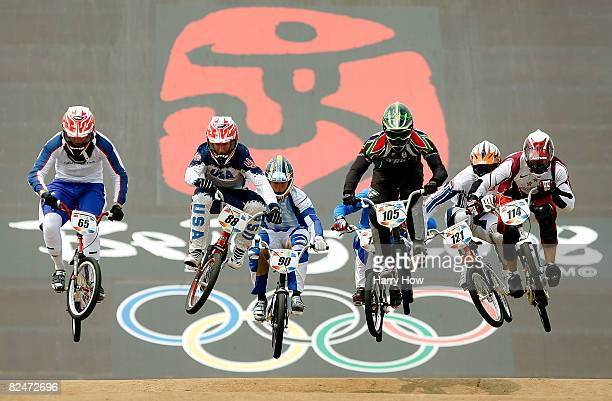 The second heat of the Men's Quarterfinals phase of the BMX competition including Kyle Bennett of the United States and Liam Phillips of Great...
