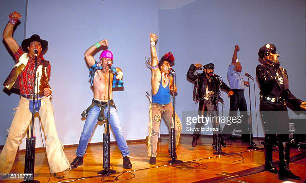 The second lineup of American disco group Village People with new lead singer Ray Simpson during The Village People in Concert at NYU 1991 at NYU in...