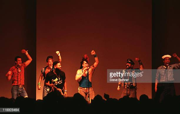 The second lineup of American disco group Village People with new lead singer Ray Simpson during Village People at Palladium 1992 at Palladium in New...