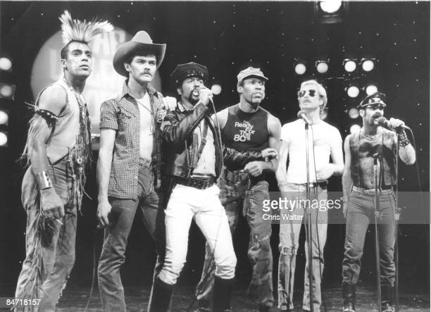 The second lineup of American disco group Village People with new lead singer Ray Simpson 1983 Midnight Special TV Show