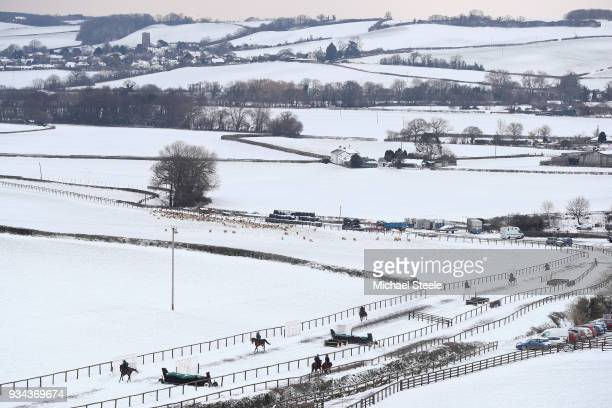 The second lot head up the polytrack gallop at the Sandhill Racing Stables of national hunt trainer Philip Hobbs on March 19 2018 in Minehead England