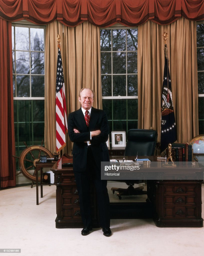 president in oval office. The Second Official Portrait Of President Gerald Ford, Standing In Oval Office. | Office