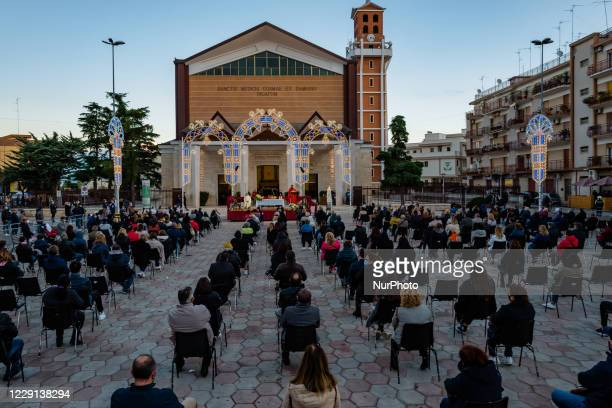 The second outdoor mass in honor of the Santi Medici in front of the square in front of the Basilica Santuario of the Santi Medici in Bitonto on 18...