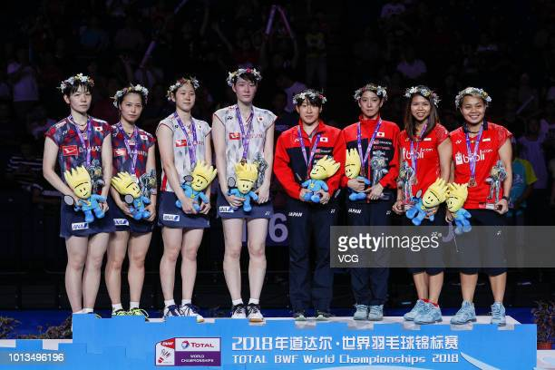 The second place Yuki Fukushima and Sayaka Hirota of Japan the first place Mayu Matsumoto and Wakana Nagahara of Japan the third place Greysia Polii...