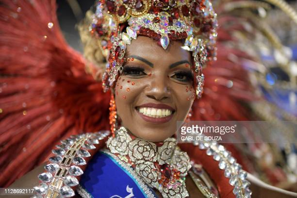 The second princess of Rio's Carnival Viviane Silveira performs during the second night of parades at the Sambadrome in Rio de Janeiro Brazil on...