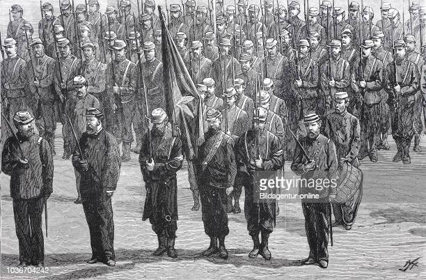 The second regiment Chilian Army on Parade digital improved reproduction from an original print from the year 1881