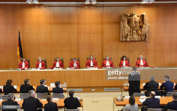 The second senate of the German Constitutional Court announces the verdict on the NPD ban proceedings at the German constitutional court in Karlsruhe...