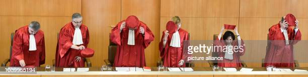 The second senate of the German Constitutional Court Peter Mueller Peter Huber president Andreas Vosskuhle Monika Hermanns Sibylle KessalWulf and...