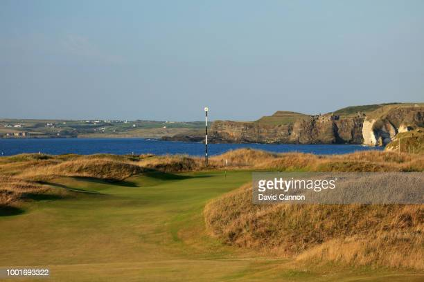 The second shot on the 456 yards par 4, 10th hole 'Himalaya's' on the Dunluce Links at Royal Portrush Golf Club the venue for The Open Championship...